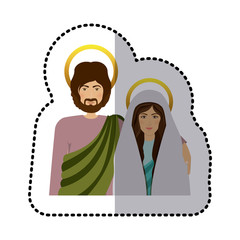 sticker half body picture medium shade of virgin mary and saint joseph vector illustration