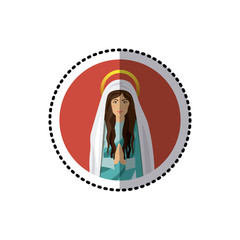 circular sticker with half body saint virgin mary praying vector illustration