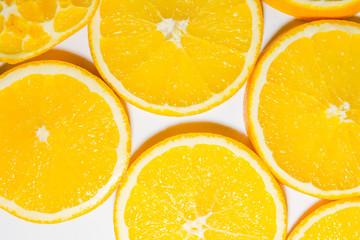 The cut orange on segments.