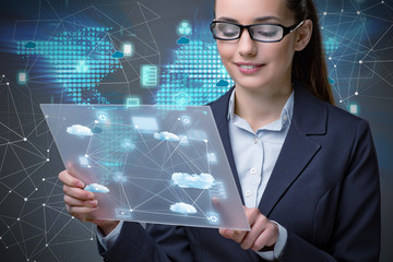 Woman with tablet in cloud computing concept