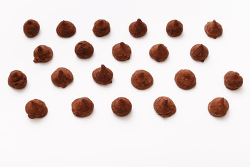 Truffles pattern, top view flat lay of various chocolate