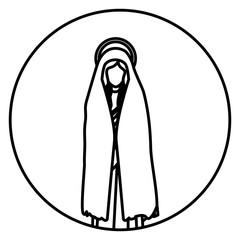 circular shape with silhouette of saint virgin mary vector illustration