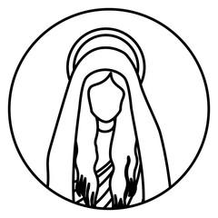 circular shape with silhouette half body saint virgin mary vector illustration