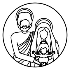 circular shape with silhouette half body picture of sacred family vector illustration