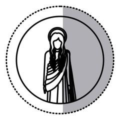 circular sticker with silhoutte figure human of saint virgin maria vector illustration