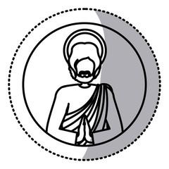 circular sticker with contour of half body picture saint joseph praying vector illustration
