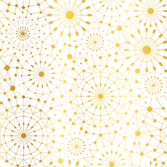 Vector Golden White Abstract Network Metallic Circles Seamless Pattern Background. Great for elegant gold texture fabric, cards, wedding invitations, wallpaper.