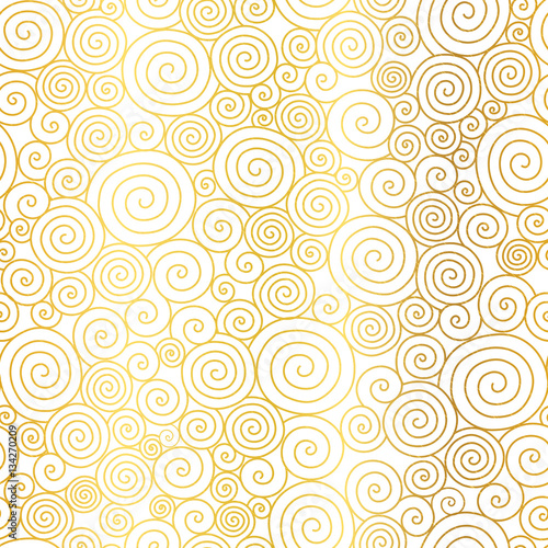 Vector Golden White Abstract Swirls Seamless Pattern Background