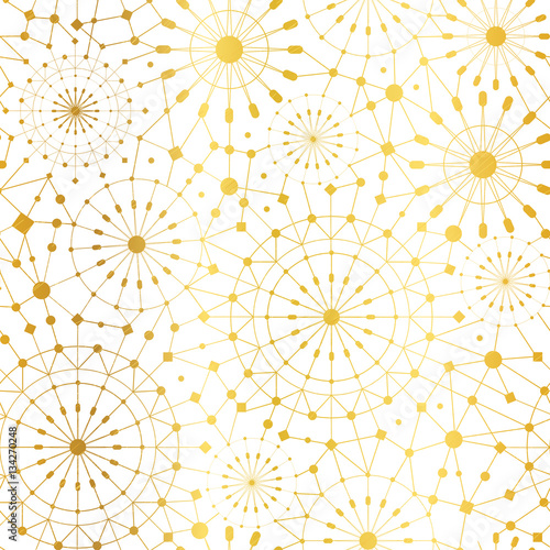 Vector Golden White Abstract Network Metallic Circles Seamless