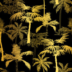 Vector Golden Black Palm Trees Summer Seamless Pattern Background. Great for tropical vacation fabric, cards, wedding invitations, wallpaper.