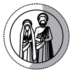 circular sticker with silhouette virgin mary and saint joseph praying vector illustration