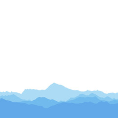 The silhouette mountains on white background. The flat vector illustration.