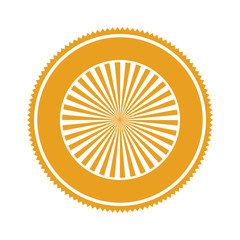 orange gear abstract art deco emblem with stripeds vector illustration
