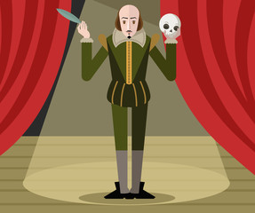 great english playwright with feather plume pen and skull standing on theater stage