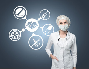Doctor in mask and medical icons