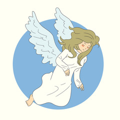 hand drawn angel flying