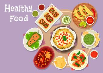 Mexican cuisine spicy snacks icon for menu design