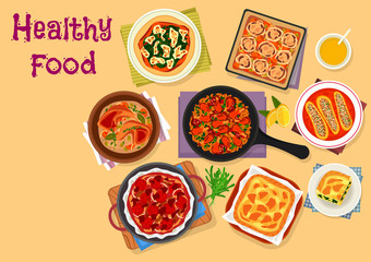 Italian cuisine lunch icon for healthy food design
