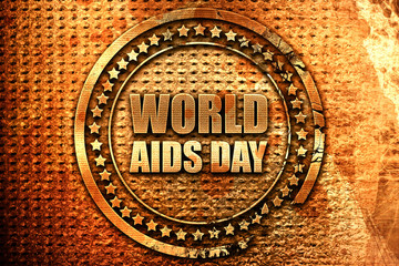 world aids day, 3D rendering, grunge metal stamp