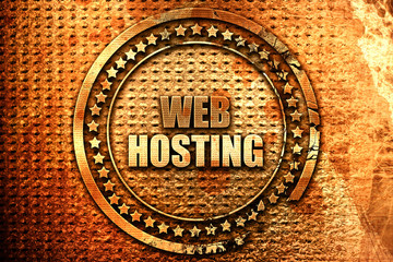 web hosting, 3D rendering, grunge metal stamp