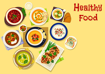 Thick cream soups icon for healthy food design