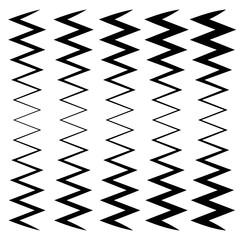Wavy, zig-zag lines - Thinner and thicker versions. Irregular li