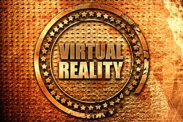 virtual reality, 3D rendering, grunge metal stamp