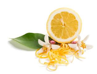 Zest and flower of lemon fruit.