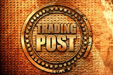 trading post, 3D rendering, grunge metal stamp