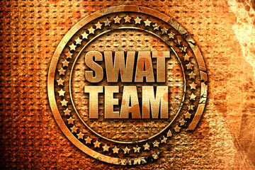 swat team, 3D rendering, grunge metal stamp