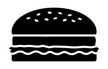 Hamburger or burger with lettuce and beef patty flat vector icon for food apps and websites