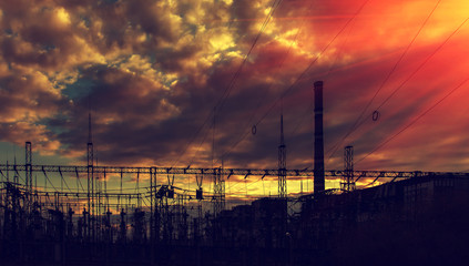 electricity distribution station at sunset.