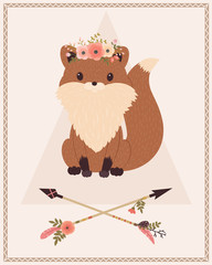 Fox in floral wreath and arrows