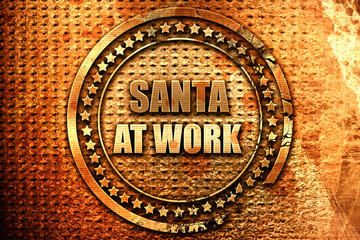 santa at work, 3D rendering, grunge metal stamp