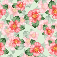 Watercolor floral pattern. Seamless background with red flowers 03