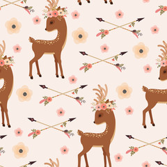 Elegant deer in floral wreath with arrows seamless wallpaper