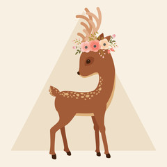 Deer with floral wreath on a head
