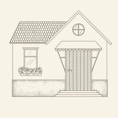 Hand drawn outline vector house