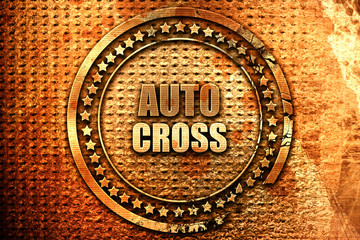 auto cross sign background, 3D rendering, grunge metal stamp