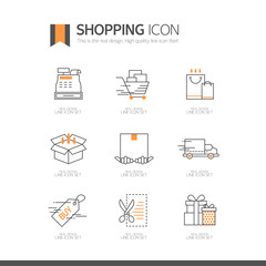 쇼핑 라인 아이콘 세트