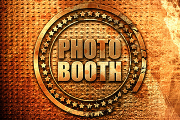 photo booth, 3D rendering, grunge metal stamp