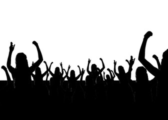 People Celebrating with Hands Up Silhouette