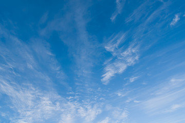 Bright blue winter sky with beautiful clouds
