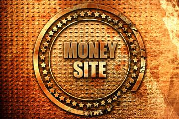 money site, 3D rendering, grunge metal stamp