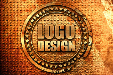 logo design, 3D rendering, grunge metal stamp