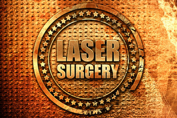 laser surgery, 3D rendering, grunge metal stamp