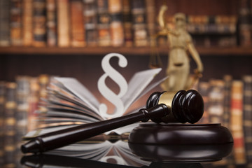 Law books, Paragraph justice concept, Court gavel