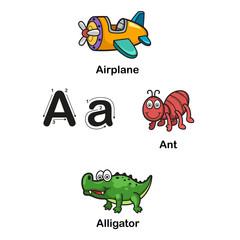 Alphabet Letter A-airplane,ant,alligator  illustration