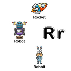 Alphabet Letter R-rocket,robot,rabbit  illustration