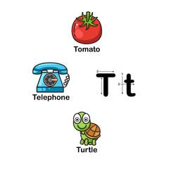Alphabet Letter T-tomato,telephone,turtle  illustration
